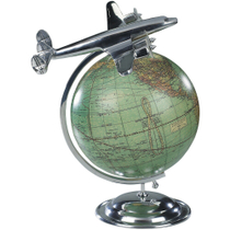 Authentic Models On Top Of The World Globe with Airplane