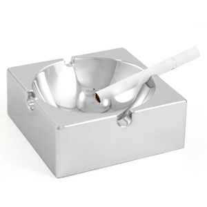 Chrome Stainless Steel Four Channel Square Cigarette Ashtray