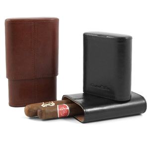 Andre Garcia Fuente Collection Classic Brown Italian Leather and Cedar-Lined Telescopic 4 Finger Cigar Case