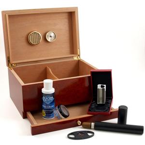 Burl Starter Cigar Humidor 6pc Gift Set with Accessories 60 CT