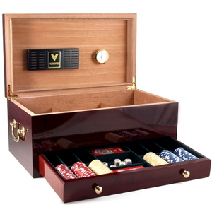 Santa Monica Cherry Cigar Humidor and Poker Set 120 Count