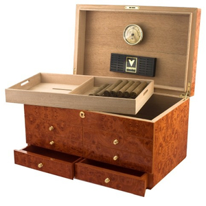 Westminster IV Burl Cigar Humidor with Accessory Drawers - Open Box