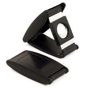 Nibo Black Acrylic Stainless Steel Double Blade Fold Away Style Cigar Cutter