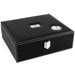Nibo 25 Count Black Faux Leather Cigar Humidor with Outside Hygrometer