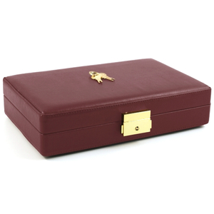 Burgundy Leather Travel Cigar Humidor with Accessories