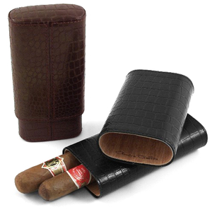 Andre Garcia Jermyn St. Collection Brown Italian Leather Cedar-Lined 3 Finger Cigar Case