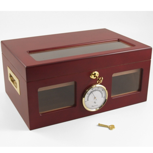 Glass Top Cherry Matte Finish Cigar Humidor 100 Ct.