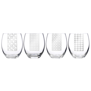 Luigi Bormioli Social Ave 17 Ounce Assorted Stemless Wine Glass, Set of 4