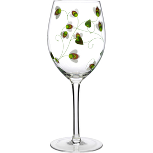 Luigi Bormioli Social Ave UR Vino Green Floral 20 Ounce All Purpose Wine Glass, Set of 2