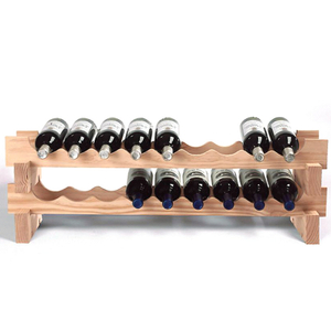Wine Enthusiast Natural Wood Stackable 18 Bottle Wine Rack Kit