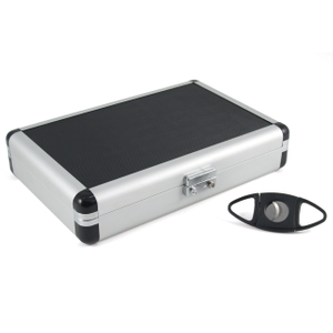 Black & Silver Travel Cigar Humidor with Cutter