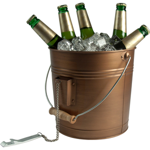 Artland Oasis Distressed Antiqued Copper Finish Beverage Pail and Bottle Opener