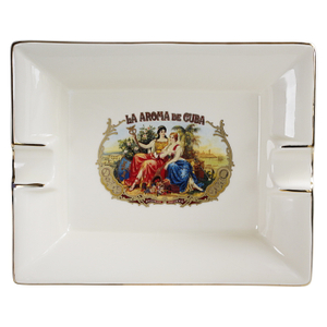 Ashton White Cream Ceramic La Aroma De Cuba Cigar Ashtray