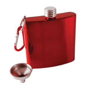 True Fabrications Red Stainless Steel Carabiner Hip Flask, 6 Ounce