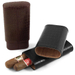 Andre Garcia Jermyn St. Collection Black Italian Leather Cedar-Lined 3 Finger Cigar Case