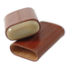 "Andre Garcia Horn Collection Cognac Brown Leather 3 Finger Cigar Case with Buffalo Horn Accent- ""Minor Scratch N' Dent"""