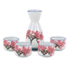 Japanese Porcelain Cherry Blossom 5 Piece Sake Set