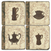 Old World Paris Coffee Tumbled Marble Coaster, Set of 4