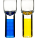 Sagaform Club Blue and Yellow Hand-Blown Shot Glass, Set of 4