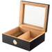 Black Wood 50 Count Glass Top Cigar Humidor with Front Mount Hygrometer