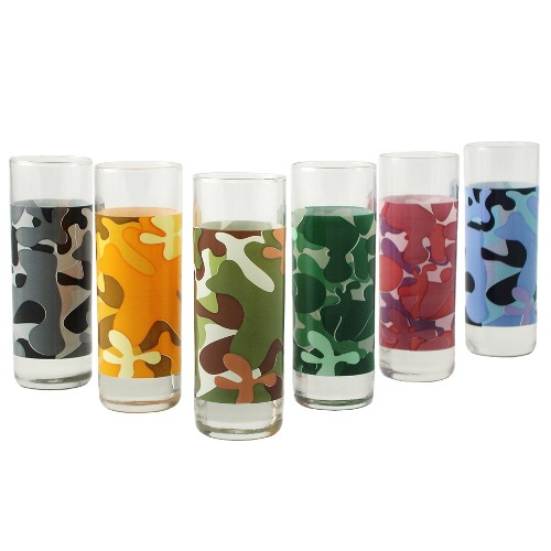 Assorted Camouflage 6 Piece Shot Glass Set