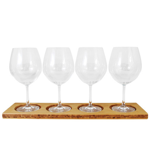True Fabrications Bamboo Wine Flight Stand Wall Mountable Gl And Bottle Rack