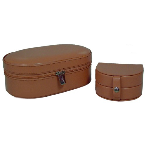Prestige Tan Leather 2 in 1 Travel Jewelry Box