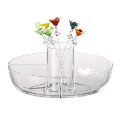 Prodyne Martini Mate Acrylic Garnish Bowl with 6 Martini Picks