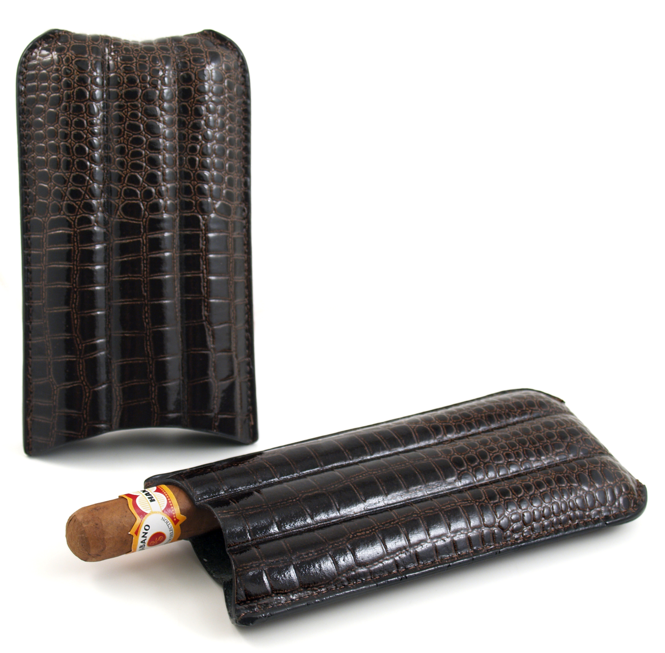 Brown Crocodile 3 Finger Cigar Humidor Case
