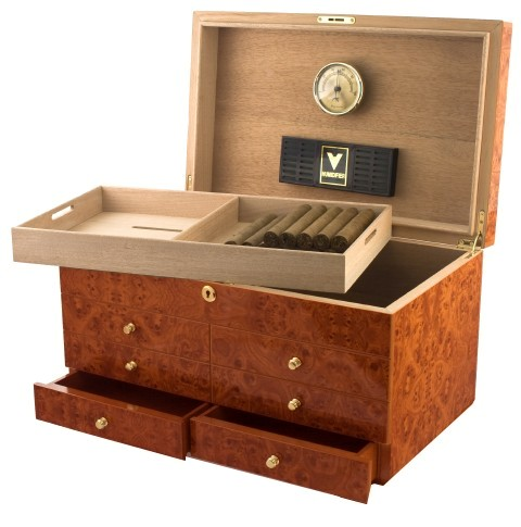 Westminster IV Burl Cigar Humidor with Accessory Drawers