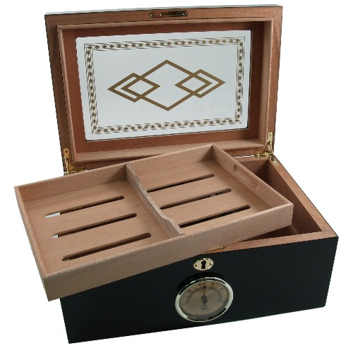 Black Three Diamond Design Window Top 100ct Cigar Humidor