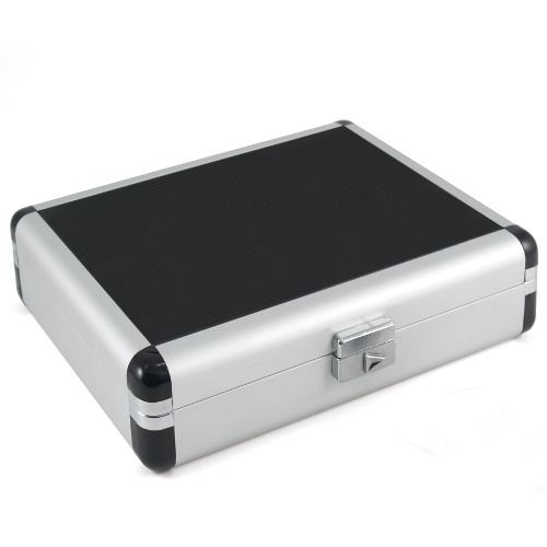 Black Leatherette & Silver Travel Cigar Humidor
