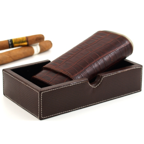 Andre Garcia Horn Collection Brown Crocodile Embossed Leather Cedar-Lined Telescopic 3 Finger Cigar Case with Buffalo Horn Accent and Bonus Valet Box