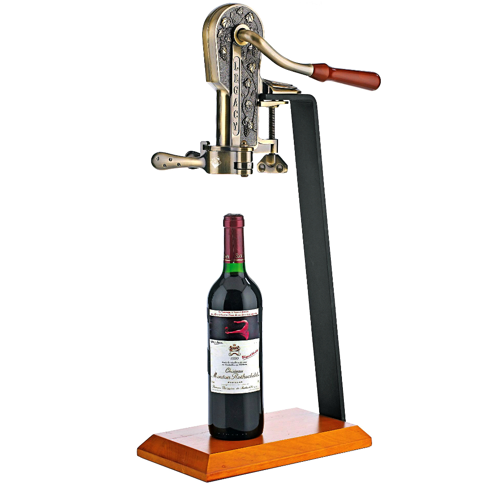Wine Enthusiast Legacy Antique Bronze Corkscrew Bottle Opener with Birch Stand