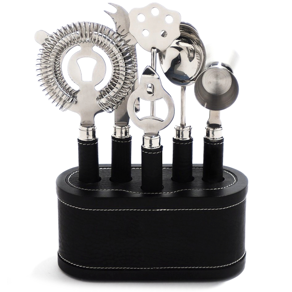 Rabbit VIP Black Stainless Steel 6 Piece Bar Tool Set with Caddy