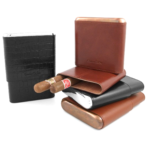 Andre Garcia Metropolitan Collection Black Crocodile Italian Leather Cedar-Lined Telescopic 5 Finger Cigar Case with Silver Metal Accent