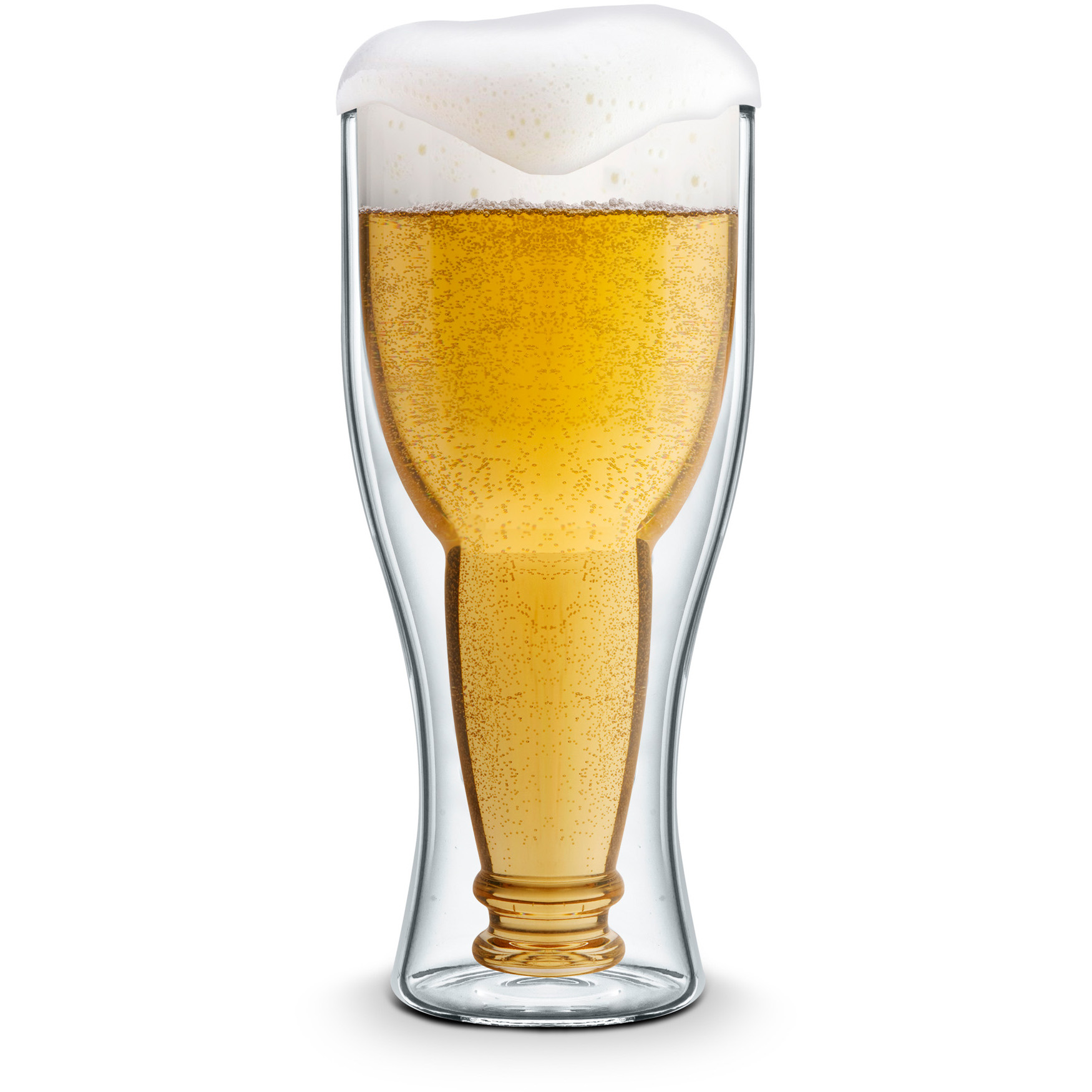 Final Touch Bottoms Up Double Wall Beer Glass, 13.5 Ounce
