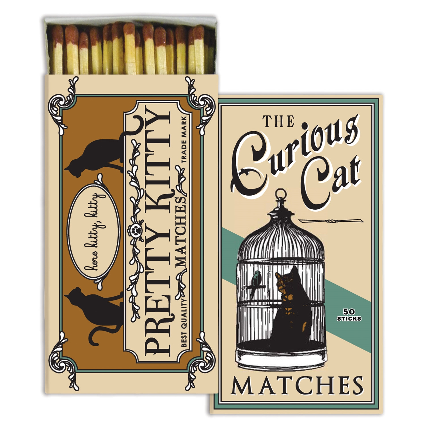 Homart Long Decorative Matches in Curious Cat Box