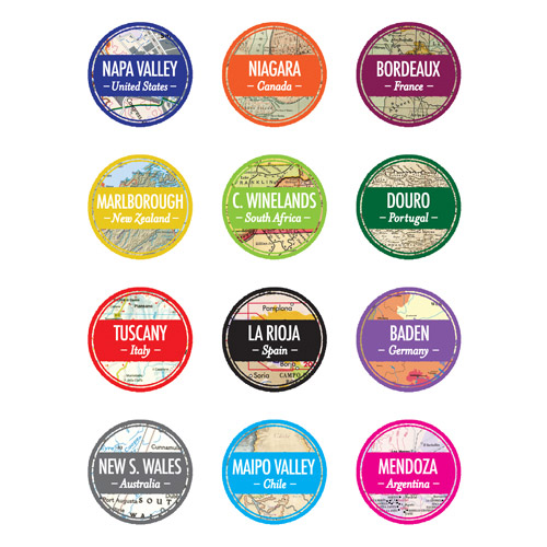 True Fabrications Wine Regions Static Cling Wine Charms, Set of 12