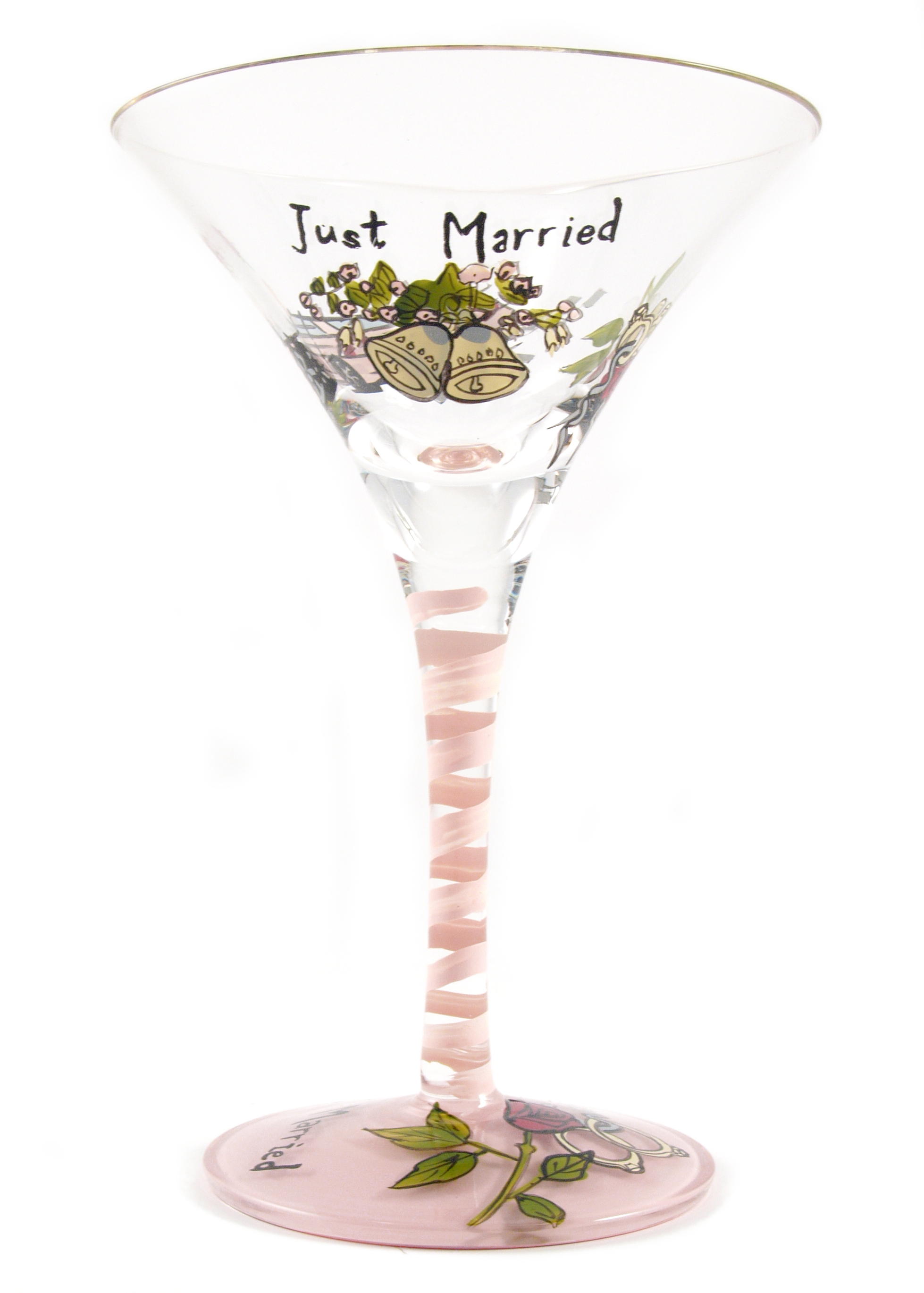 Hand Painted Just Married Martini Glasses, Set of 2