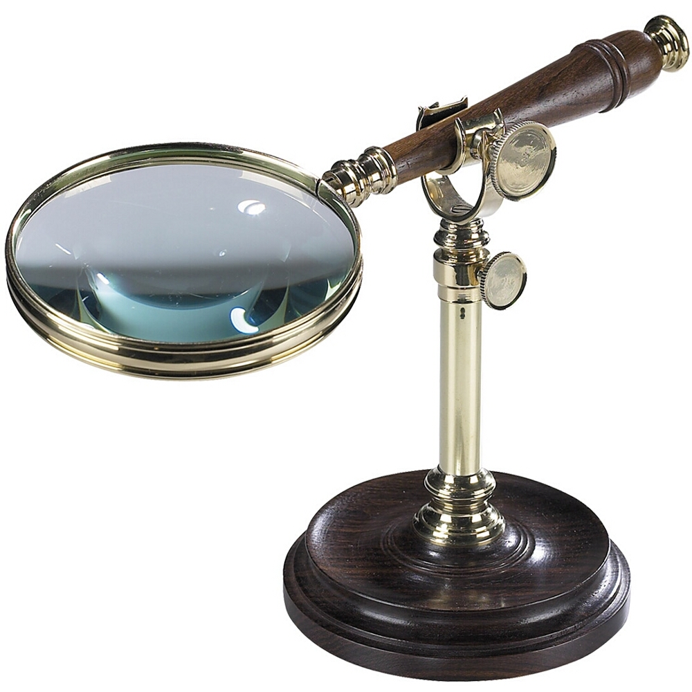 Authentic Models Magnifying Glass with Stand in Brass and Wood