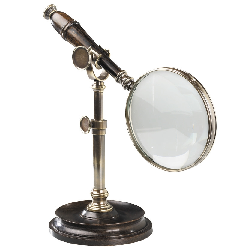 Authentic Models Magnifying Glass with Stand in Bronze and Wood