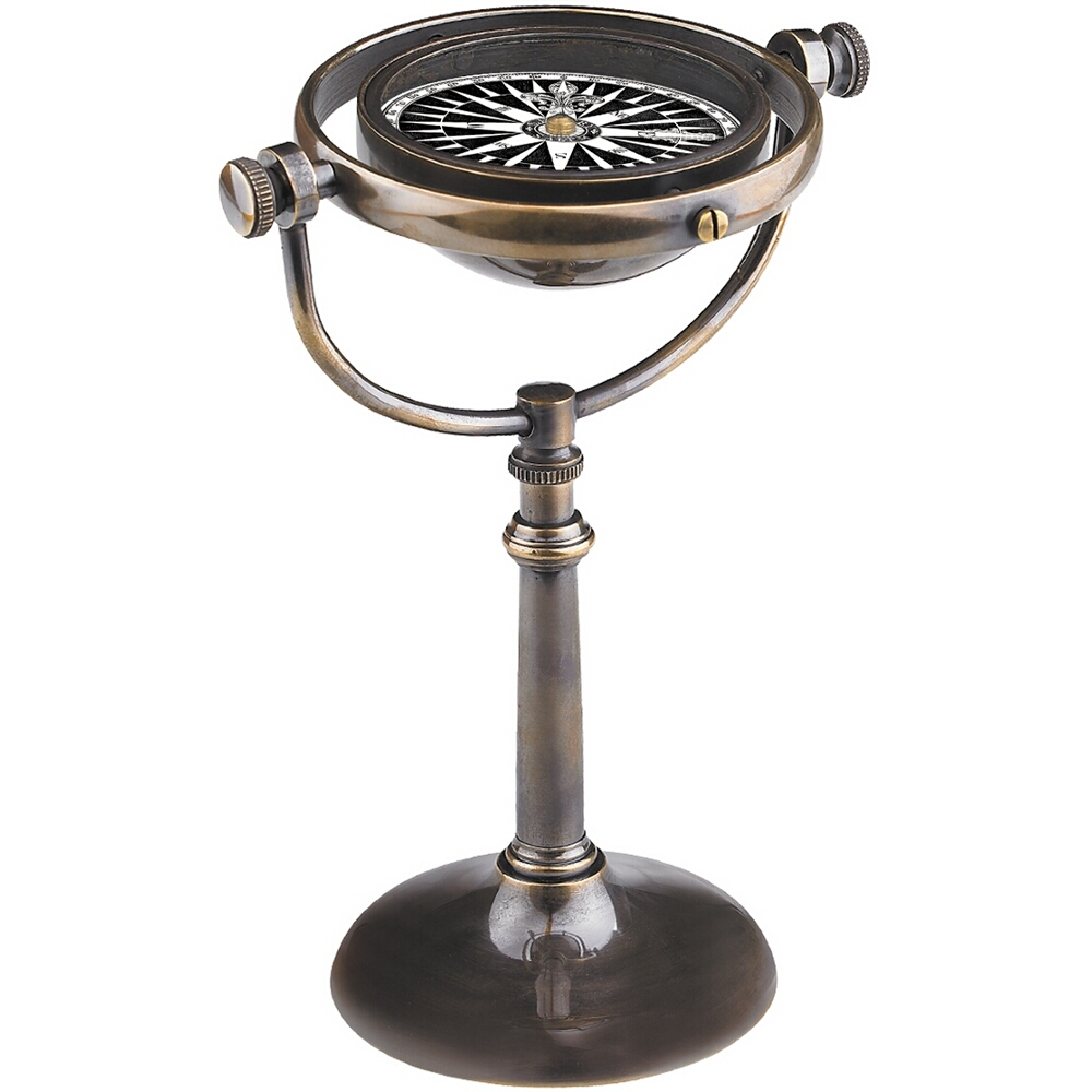 Authentic Models Collector's Desktop Compass Hand-Tooled in Admiralty Brass