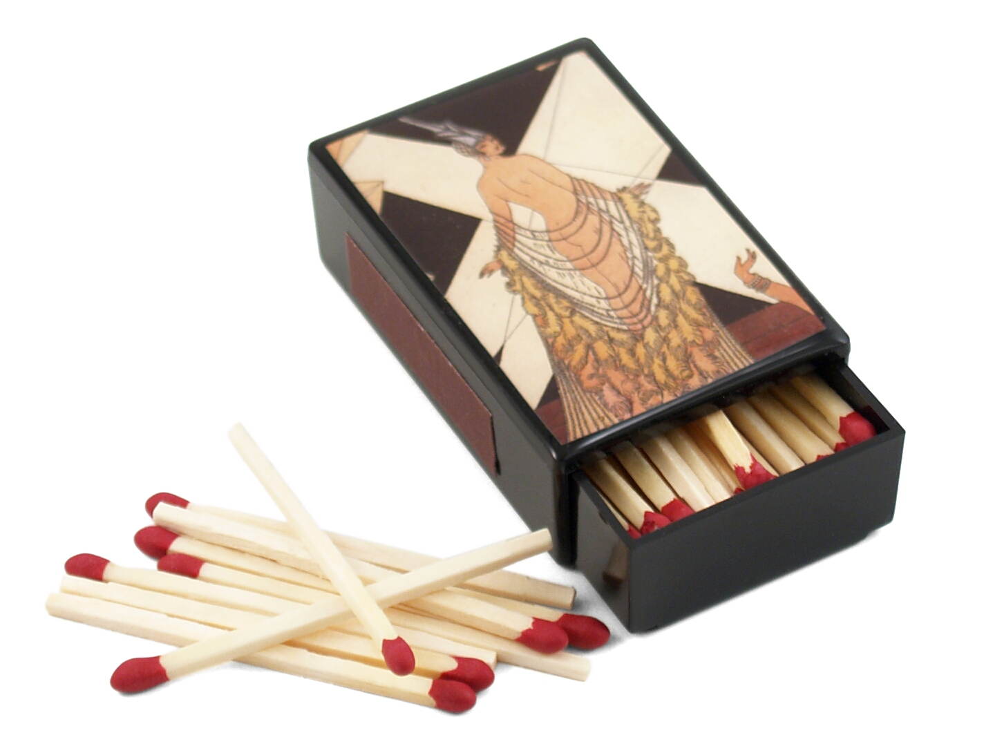 Art Deco Performer Slide Match Box with Matches