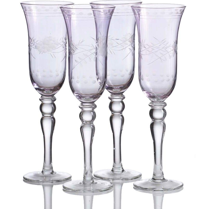 Home Essentials Amethyst Cut Luster Vintage Style Glass, Set of 4
