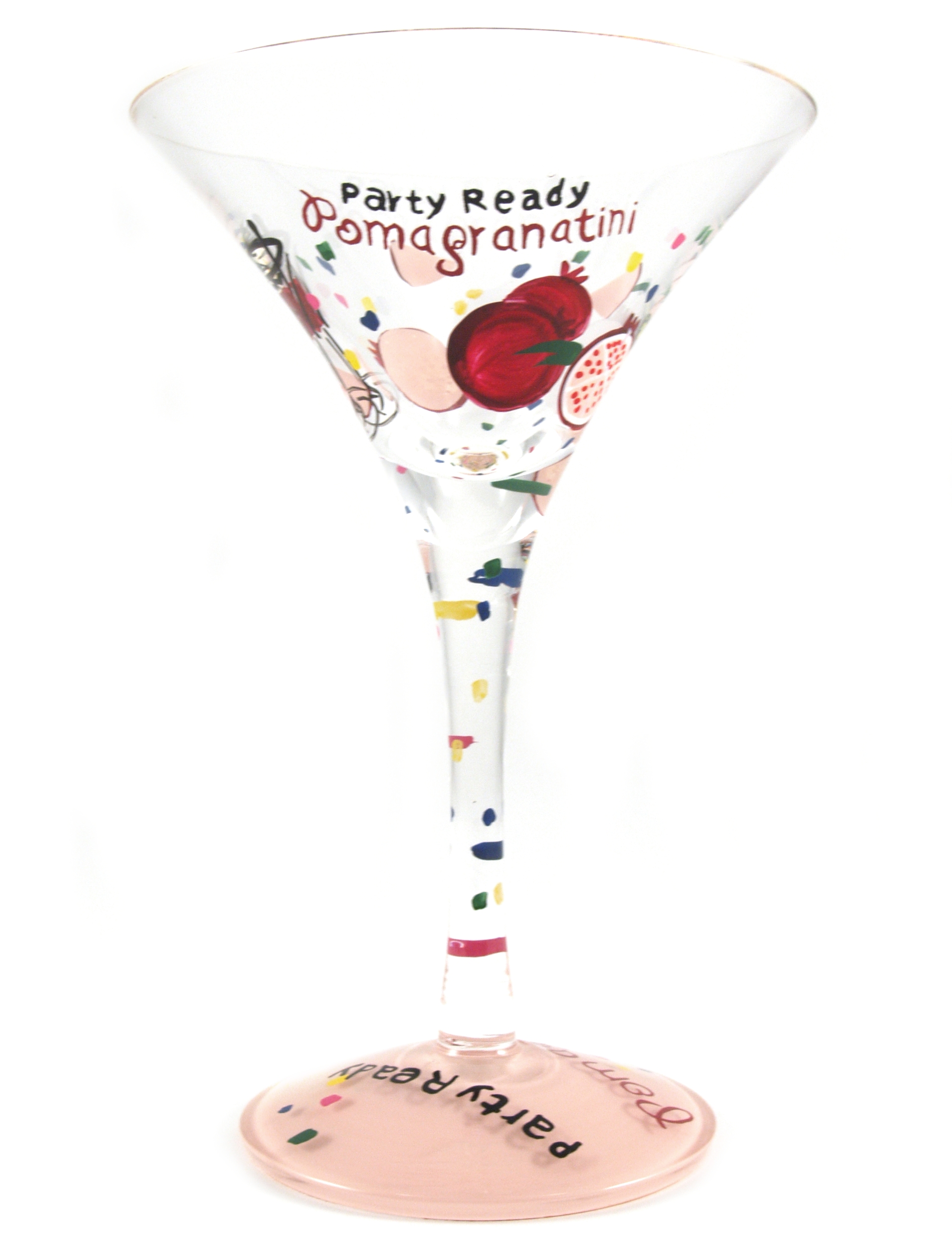 Home Essentials Hand Painted Pomegranitini Martini Glass, Set of 2