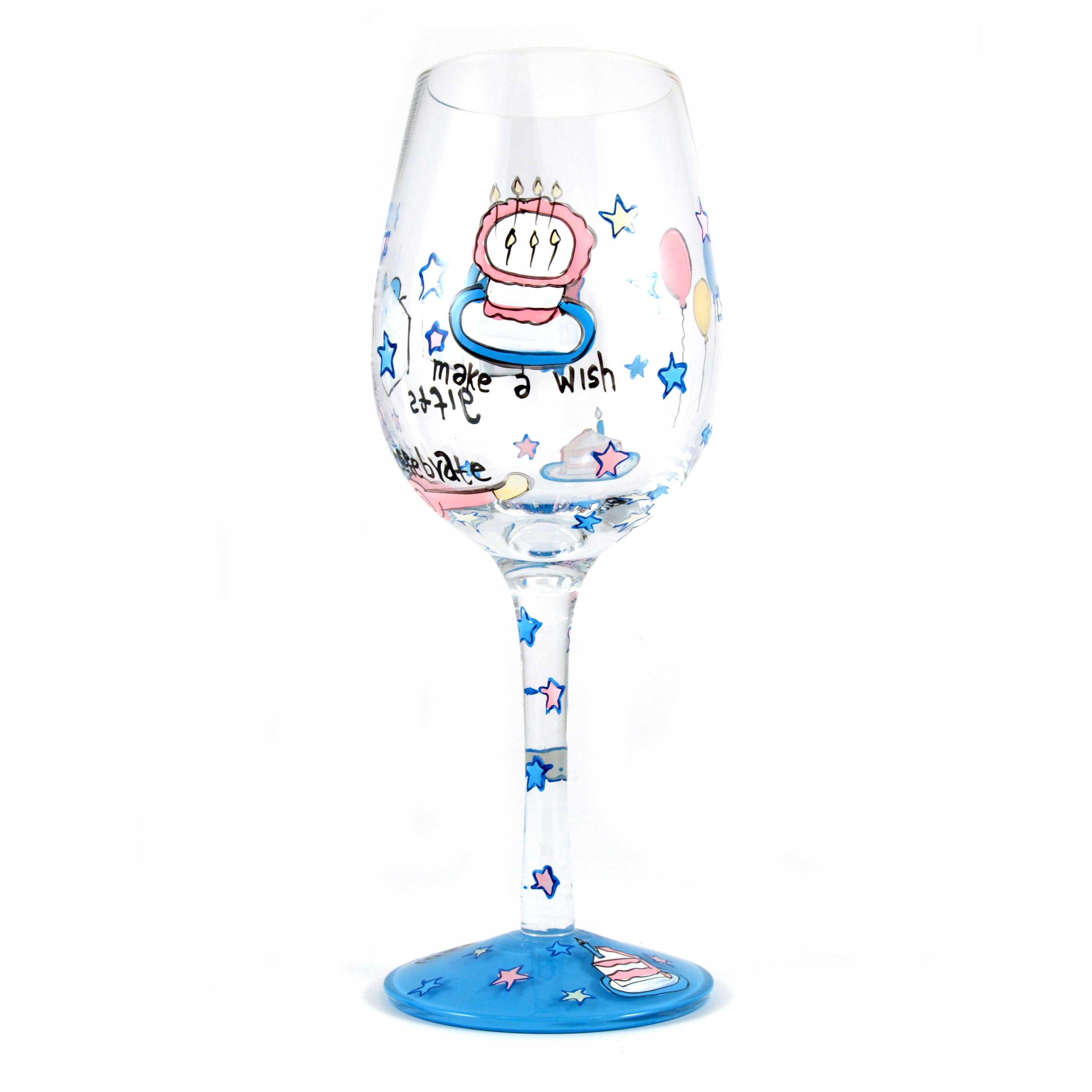 Hand Painted Make A Wish Goblet Glasses, Set of 2