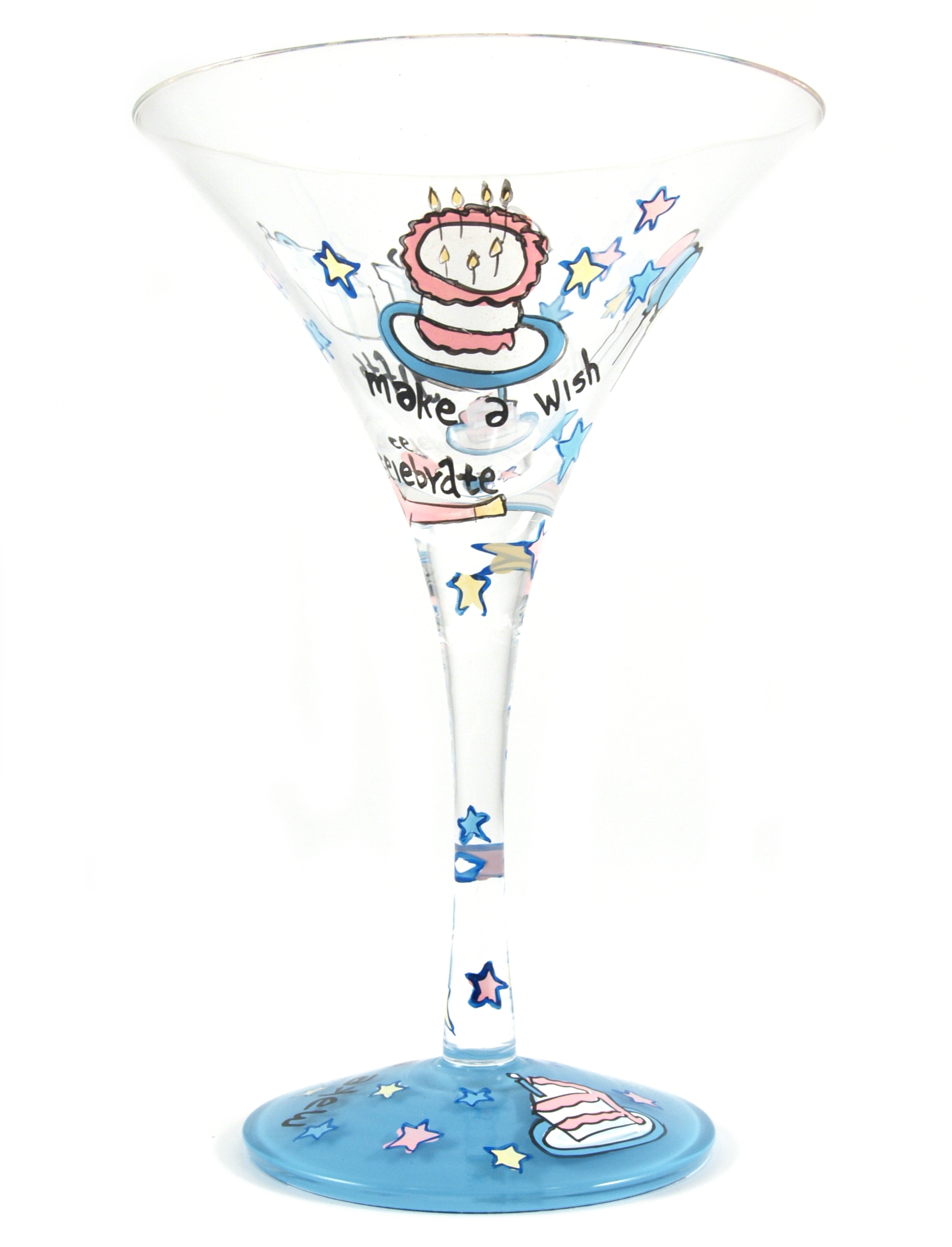 Home Essentials Hand Painted Make A Wish Martini Glass, Set of 2