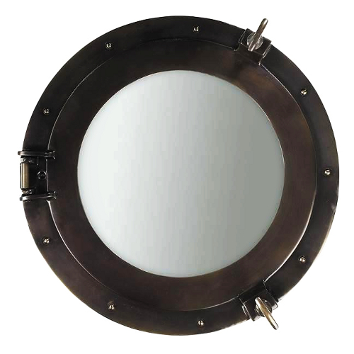 Authentic Models Cast Aluminum Medium Cabin Porthole Mirror with Bronze Finish